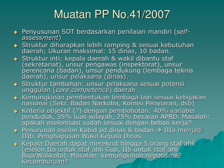 Muatan PP No.41/2007