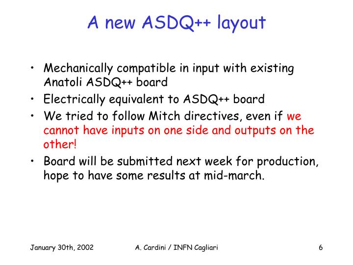 A new ASDQ++ layout