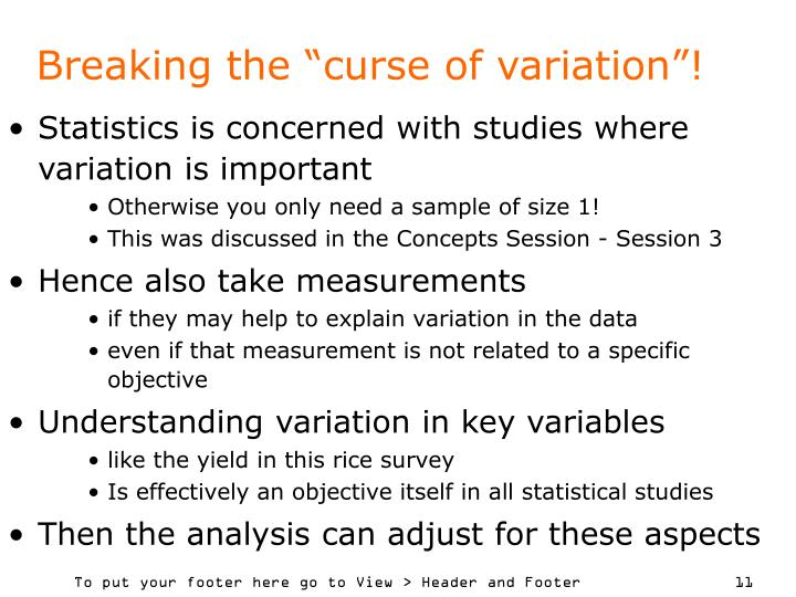 "Breaking the ""curse of variation""!"