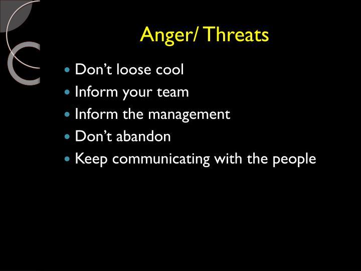 Anger/ Threats