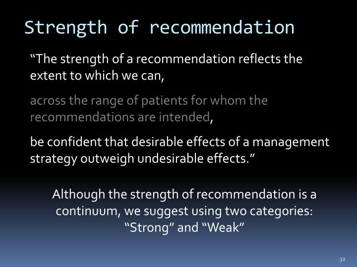 Strength of recommendation