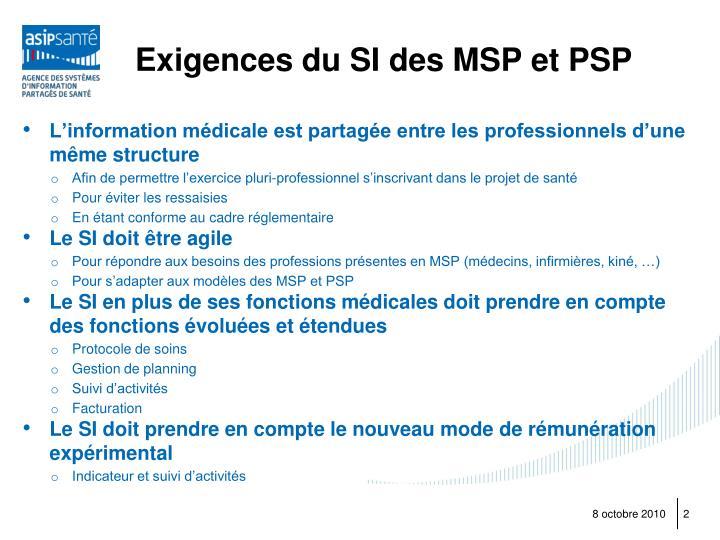 Exigences du SI des MSP et PSP
