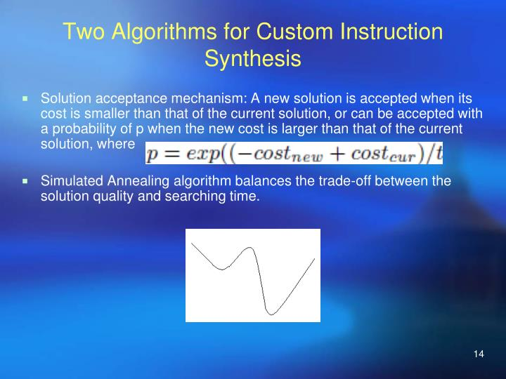 Two Algorithms for Custom Instruction