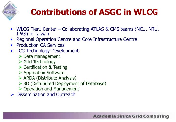 Contributions of ASGC in WLCG