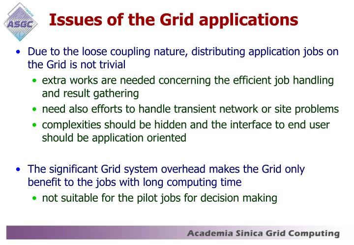Issues of the Grid applications