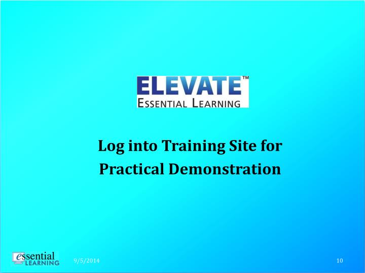 Log into Training Site for