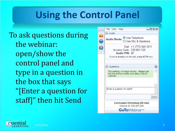 Using the control panel1