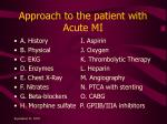 approach to the patient with acute mi