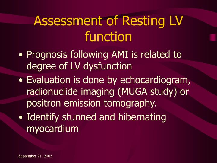 Assessment of Resting LV function