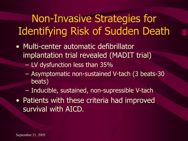 Non-Invasive Strategies for Identifying Risk of Sudden Death