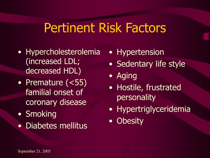 Hypercholesterolemia (increased LDL; decreased HDL)