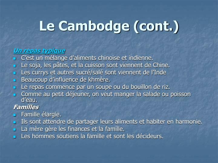 Le Cambodge (cont.)