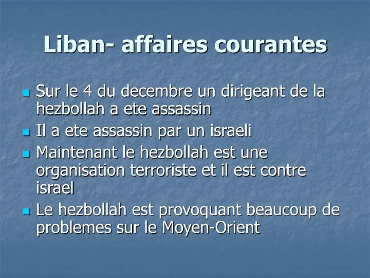 Liban- affaires courantes