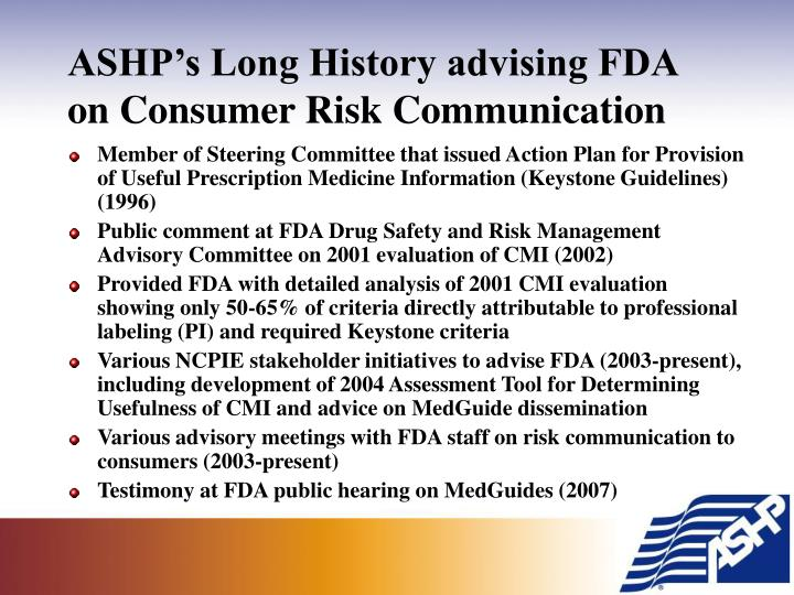 ASHP's Long History advising FDA on Consumer Risk Communication