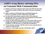 ashp s long history advising fda on consumer risk communication