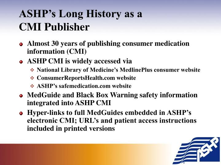 Ashp s long history as a cmi publisher