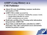 ashp s long history as a cmi publisher