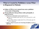 what is created by publishers versus what is dispensed to patients