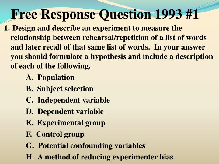 Free Response Question 1993 #1