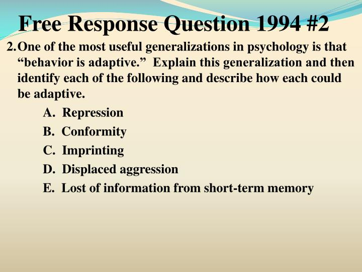 Free Response Question 1994 #2