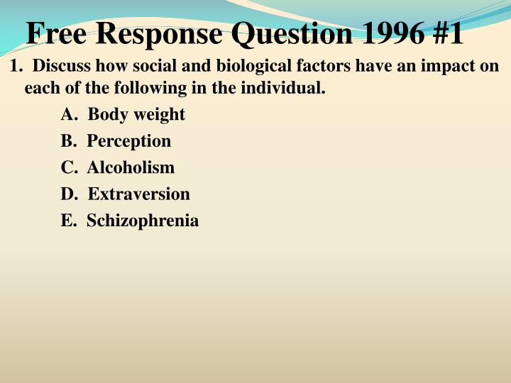 Free Response Question 1996 #1