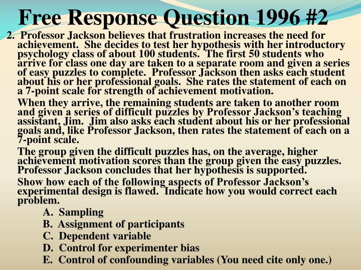 Free Response Question 1996 #2