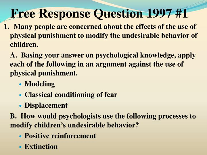 Free Response Question 1997 #1
