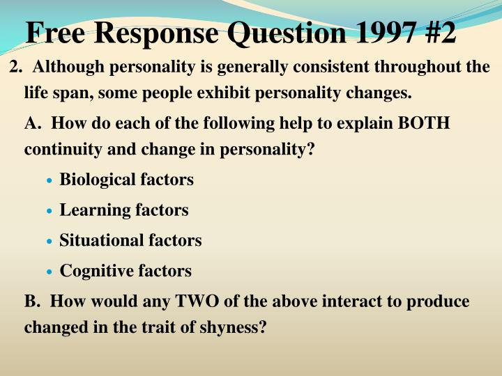 Free Response Question 1997 #2