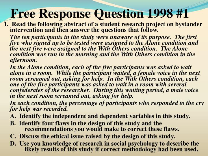 Free Response Question 1998 #1