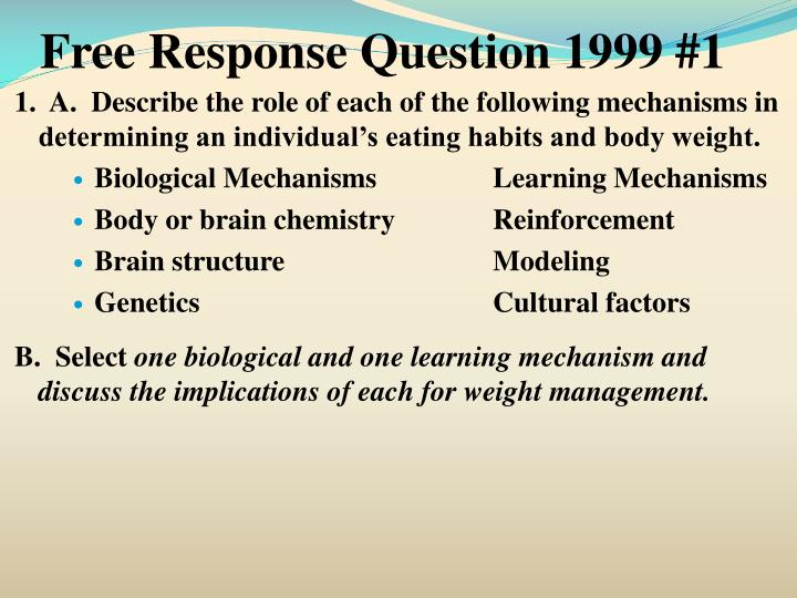 Free Response Question 1999 #1