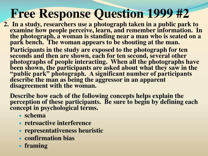 Free Response Question 1999 #2