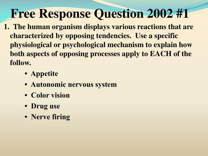 Free Response Question 2002 #1