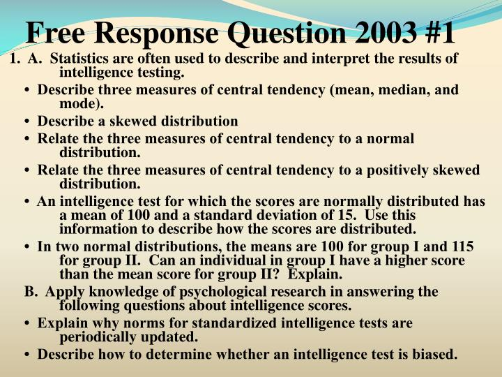 Free Response Question 2003 #1