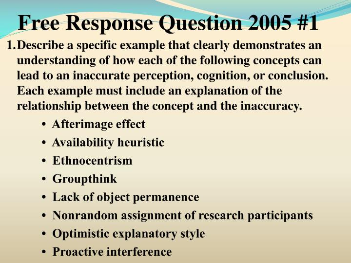 Free Response Question 2005 #1