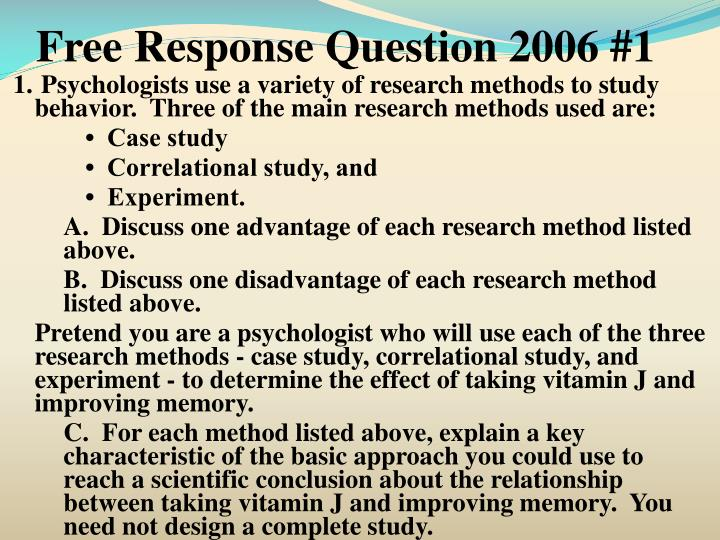 Free Response Question 2006 #1