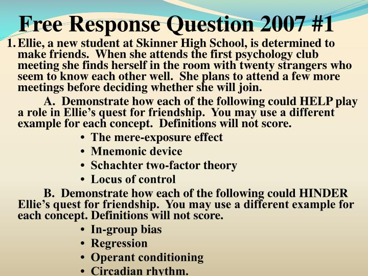 Free Response Question 2007 #1