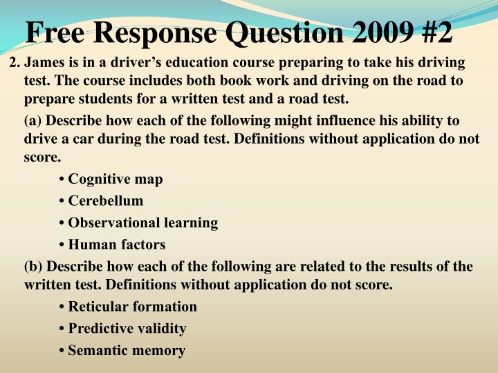 Free Response Question 2009 #2