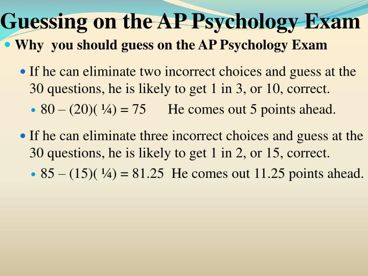 Guessing on the AP Psychology Exam