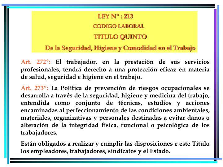 LEY Nº : 213