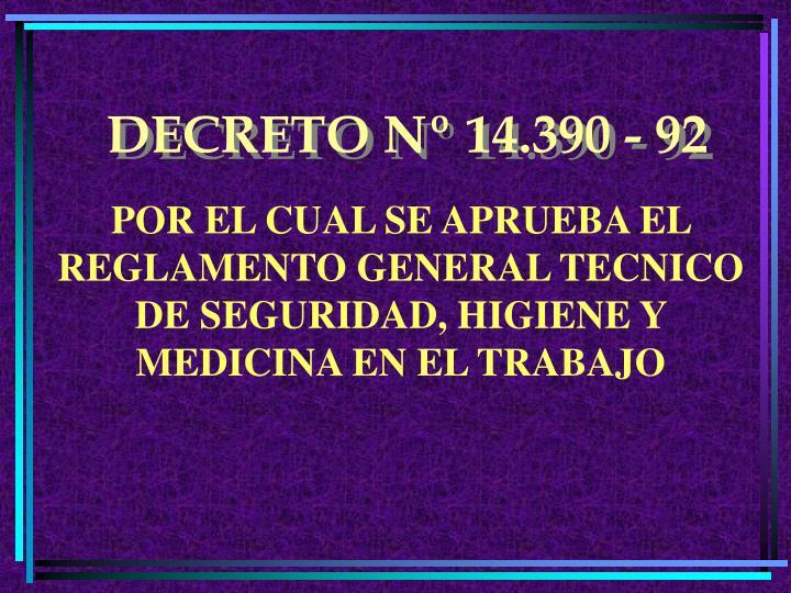 DECRETO Nº 14.390 - 92