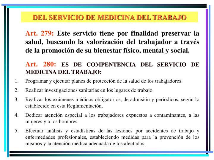 DEL SERVICIO DE MEDICINA DEL TRABAJO
