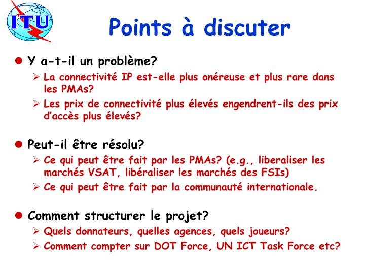 Points à discuter