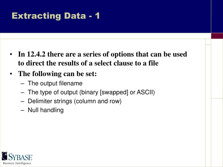 Extracting Data - 1