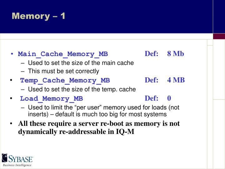 Memory – 1