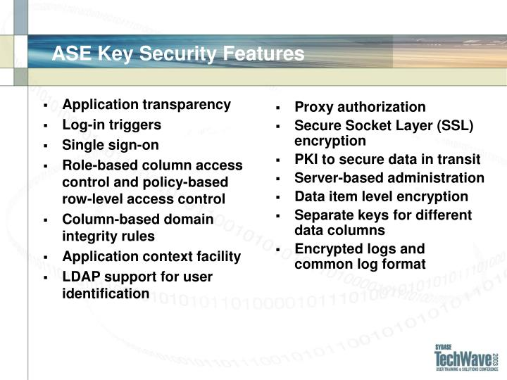 ASE Key Security Features