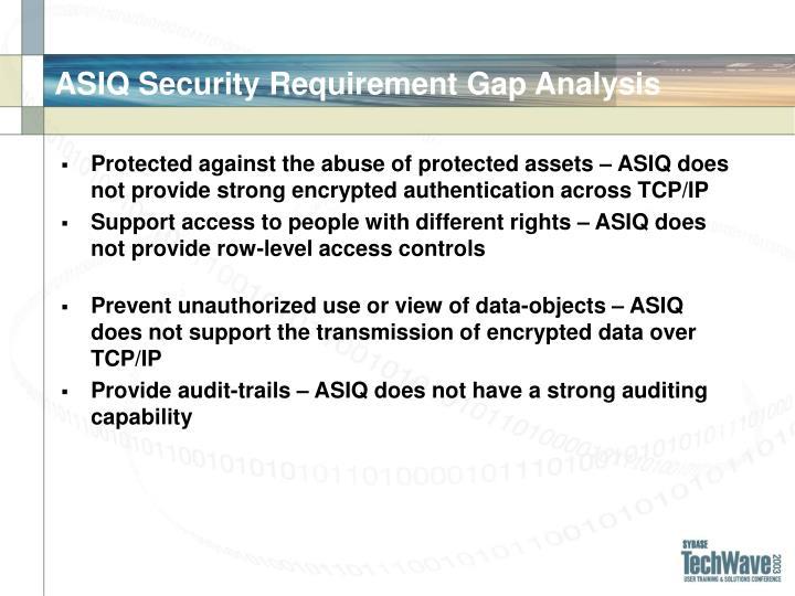 ASIQ Security Requirement Gap Analysis