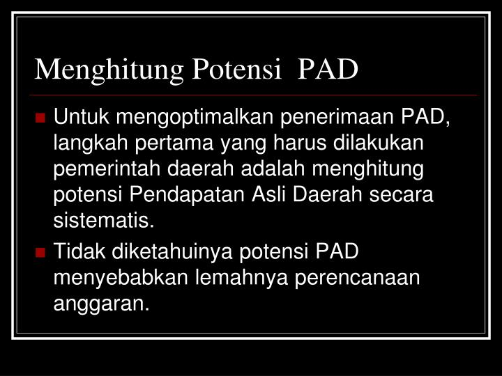 Menghitung Potensi  PAD