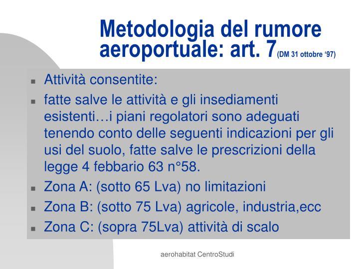 Metodologia del rumore aeroportuale: art. 7