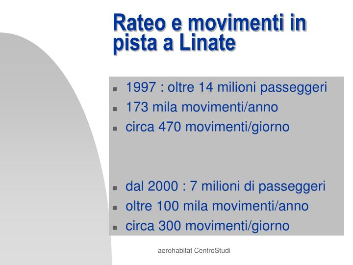 Rateo e movimenti in pista a Linate