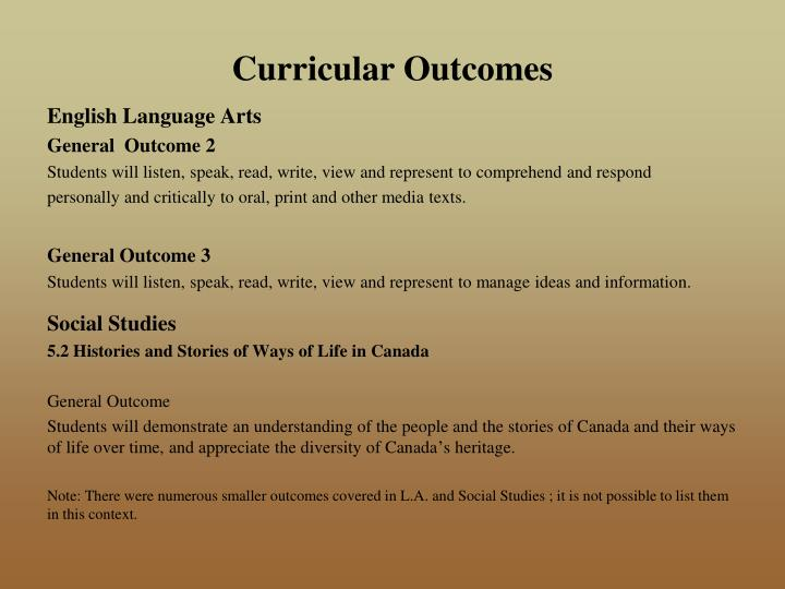Curricular Outcomes